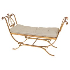 Neo Classical Style Gilt Iron Bench