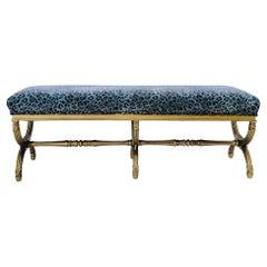 Neo-Classical Style Italian Giltwood Bench in Leopard Velvet