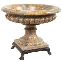 Large Marble Neo-Classical Style Urn/Tazza on Iron Base with Lion's Paw Feet
