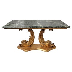 Neo-Classical Style Marble Top Giltwood Koi Fish Coffee Table or Bench