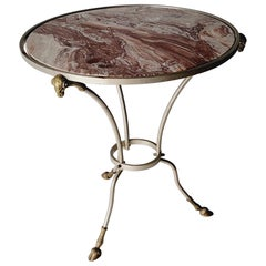 Neo-Classical Style Steel and Bronze Rouge Marble Top Side Table