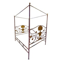 Neo-Classical Style Tole Painted Metal Framed Four Poster Bed, Queen