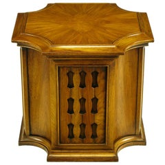 Neo-Gothic Reverse Quatrefoil Figured Walnut End Table W/Cabinet