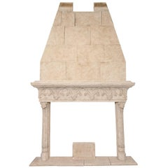 Neo-Gothic Style Composite Limestone Fireplace with Hood