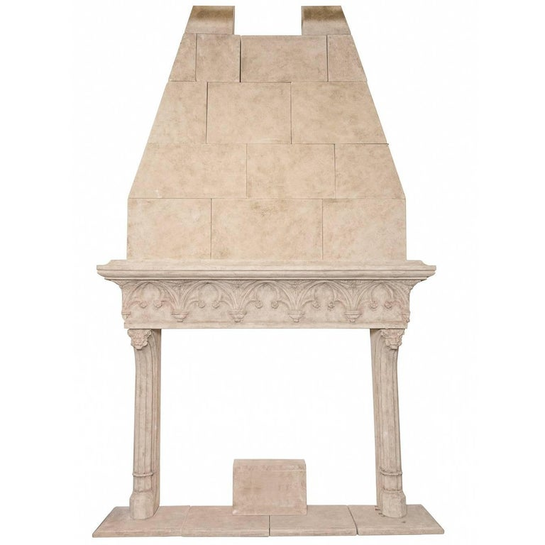 Neo-Gothic Style Composite Limestone Fireplace with Hood For Sale