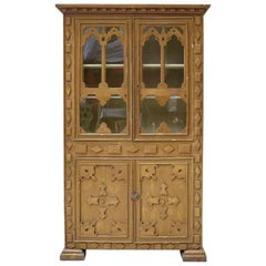 Neo-Gothic Style Faux-Bois Painted Cabinet from the Jura, circa 1900s