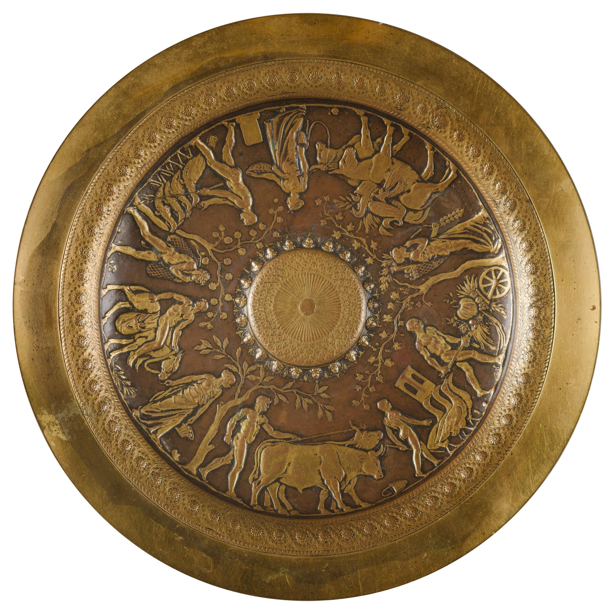Neo-Grec Gilt and Patinated Bronze Tazza, Cast by Barbedienne