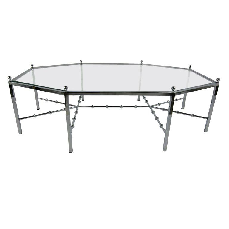 Neo-Regency Chrome Cocktail Table For Sale