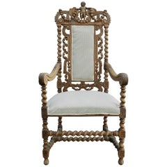 Néo-Renaissance Armchair with Cherub Design