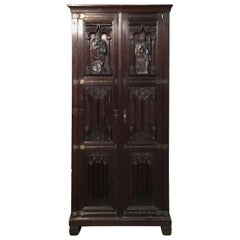 Neo Renaissance Closet / Cabinet with Carved Figures, 1850-1860