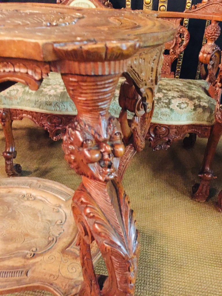 Neo Renaissance Full Carved Set of Sofa,Armchair, Chair and Table, circa 1860 For Sale 7