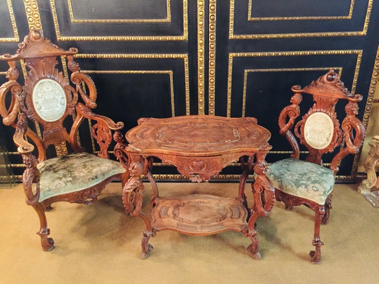 Neo Renaissance Full Carved Set of Sofa,Armchair, Chair and Table, circa 1860 For Sale 8