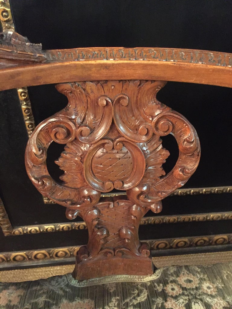 Neo Renaissance Full Carved Set of Sofa,Armchair, Chair and Table, circa 1860 For Sale 11