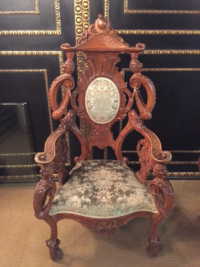 Neo Renaissance Full Carved Set of Sofa,Armchair, Chair and Table, circa 1860 For Sale 12