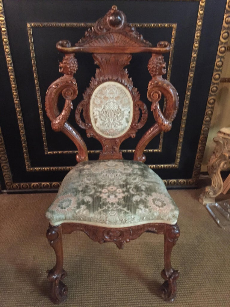Neo Renaissance Full Carved Set of Sofa,Armchair, Chair and Table, circa 1860 For Sale 13