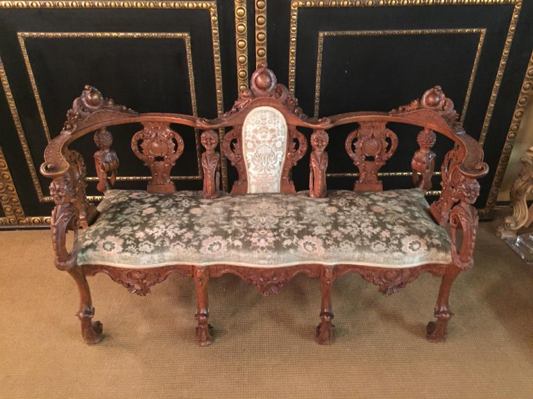 Neo Renaissance Full Carved Set of Sofa,Armchair, Chair and Table, circa 1860 For Sale 16