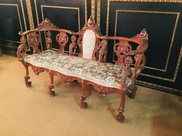 Neo Renaissance Full Carved Set of Sofa,Armchair, Chair and Table, circa 1860 For Sale 1