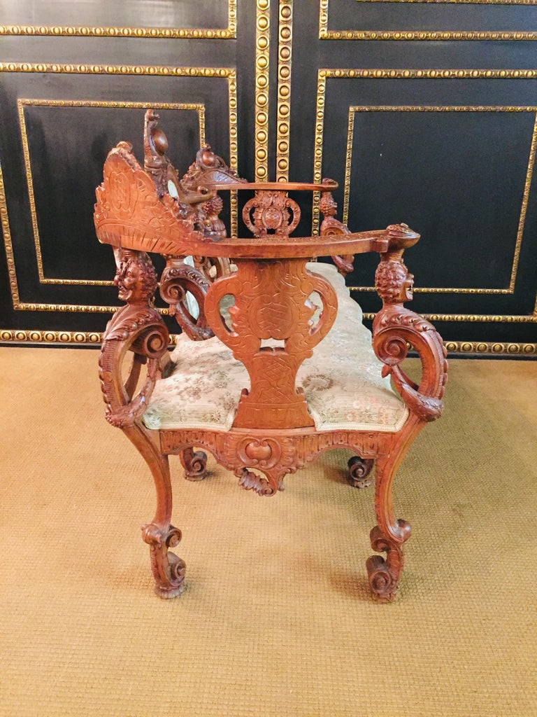 Neo Renaissance Full Carved Set of Sofa,Armchair, Chair and Table, circa 1860 For Sale 2
