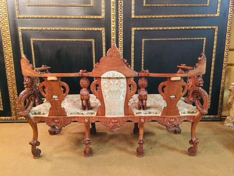 Neo Renaissance Full Carved Set of Sofa,Armchair, Chair and Table, circa 1860 For Sale 3