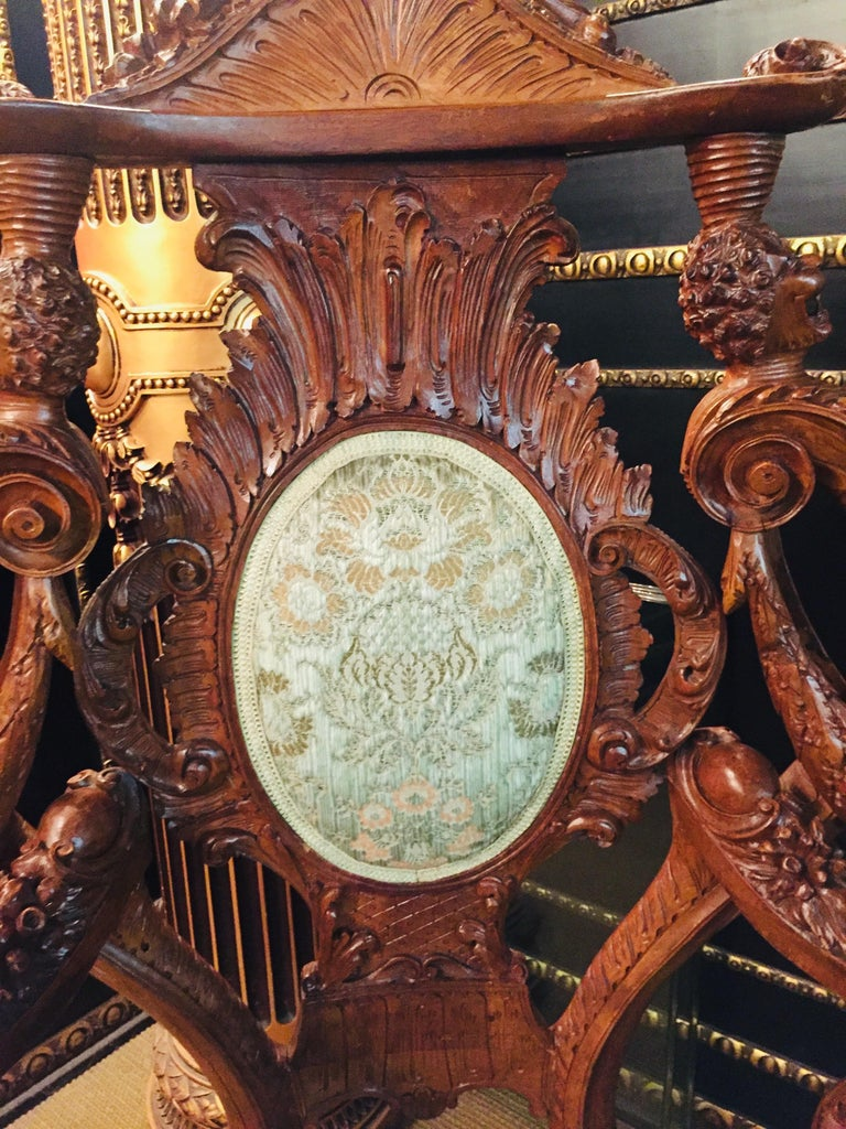 Neo Renaissance Full Carved Set of Sofa,Armchair, Chair and Table, circa 1860 For Sale 4