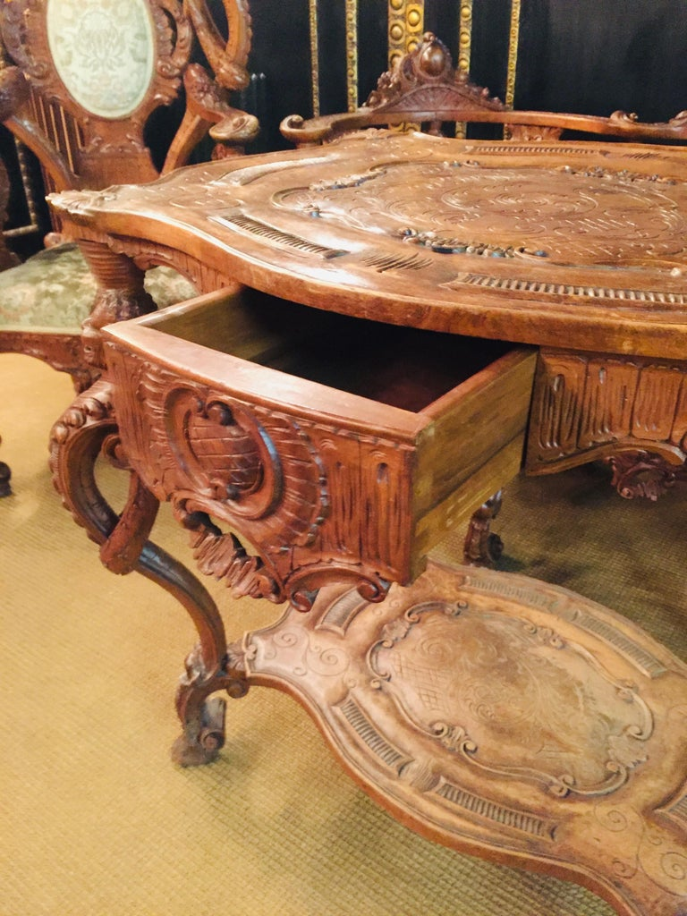 Neo Renaissance Full Carved Set of Sofa,Armchair, Chair and Table, circa 1860 For Sale 6