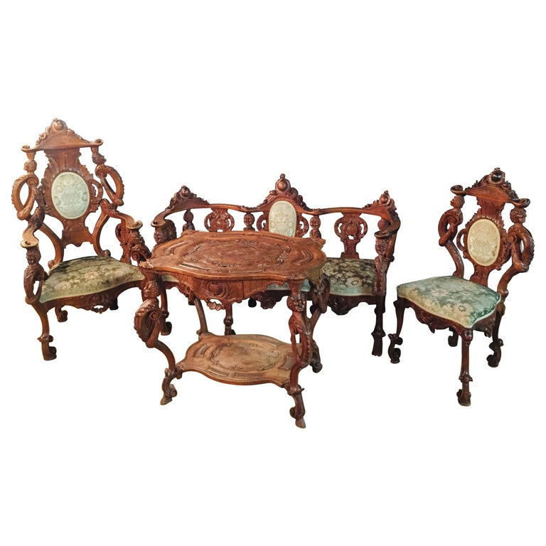 Neo Renaissance Full Carved Set of Sofa,Armchair, Chair and Table, circa 1860 For Sale