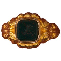 Neo Renaissance Gold And Bloodstone 'A' Signet Ring with Secret Compartment