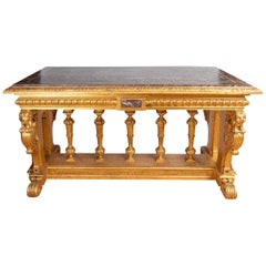 Néo Renaissance Style Giltwood Table with Marble Top, 19th Century