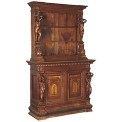 Neo-Renaissance Two-Bodies Cupboard, Walnut, Italy, 20th Century