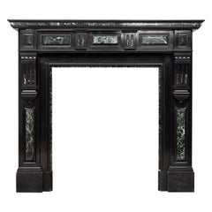 Neoclassic Black and Green Marble Antique Fireplace Mantel
