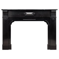 Neoclassic Black Marble Antique Fireplace Mantel