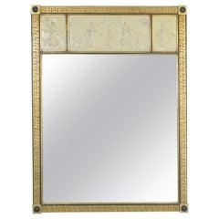 Neoclassic Figural Greek Key Gilded Wall Mirror, Circa 1950