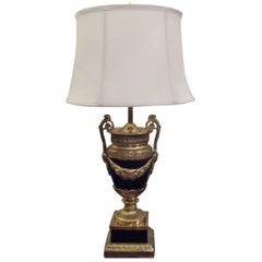 Neoclassic Metal and Brass Urn Table Lamp