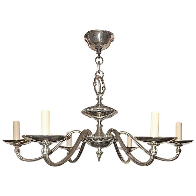 Neoclassic Silver Plated Chandelier For Sale