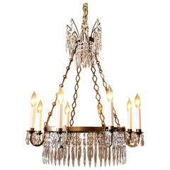 Neoclassic Style Eight-Light Brass and Crystal Chandelier, Sweden, circa 1900