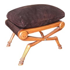 Neoclassic Style Walnut Stool with Brown Velvet Top