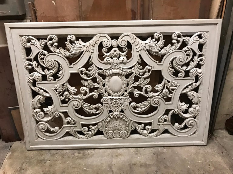 Neoclassic Swedish Gray Painted Carved Wood Architectural