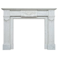 Neoclassic White Carrara Marble Antique Fireplace