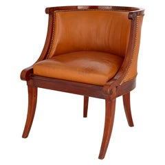 Neoclassical 18th Century French Leather Chair