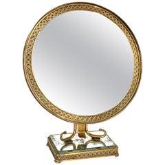 Neoclassical Adjustable Brass and Wood Italian Vanity Table Mirror, 1950s