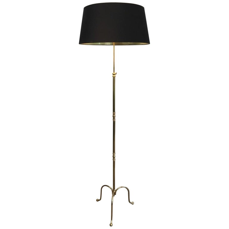 26faa7e5675 Neoclassical Adjustable Brass Floor Lamp with Black Shade Gold Inside