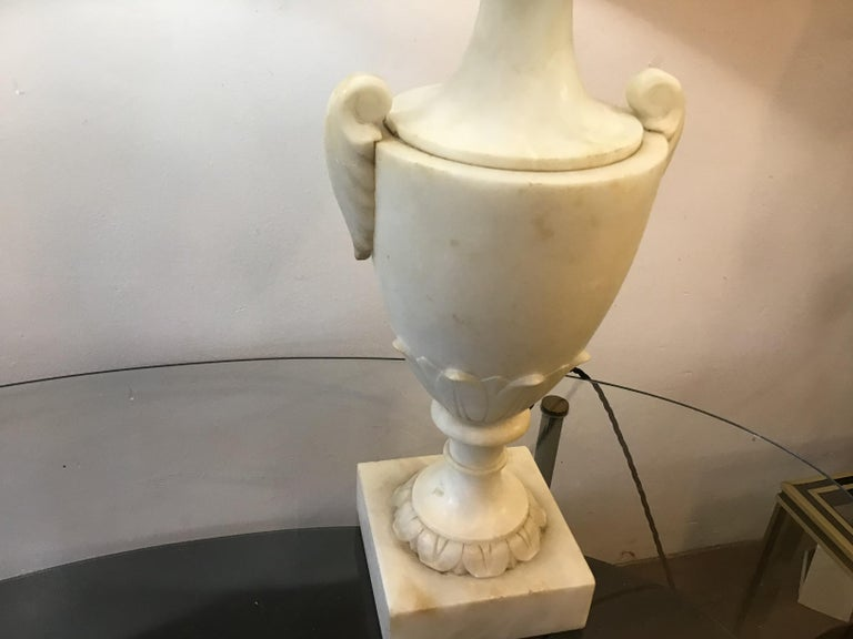 European Neoclassical Alabaster Italian Table Lamps For Sale