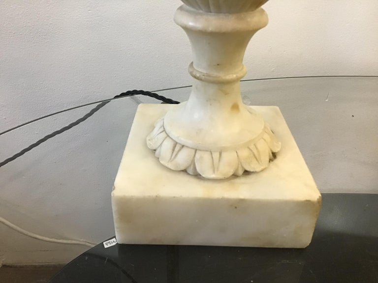 Neoclassical Alabaster Italian Table Lamps For Sale 2