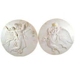 Neoclassical Allegorical Marble Relief Night and Day Plaques after Thorvaldsen