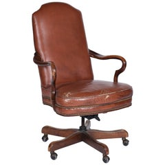 Neoclassical American Rotating Leather Office Chair by Woodmark