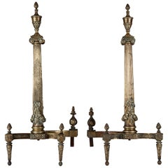 Neoclassical Antique Cast Brass Tapered Column Andirons, circa 1900