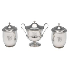 Neoclassical Antique Sterling Silver Tea Caddy Set from 1797 by Robert Sharp