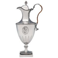 Neoclassical Antique Sterling Silver Wine or Water Jug by Fogelberg & Gilbert