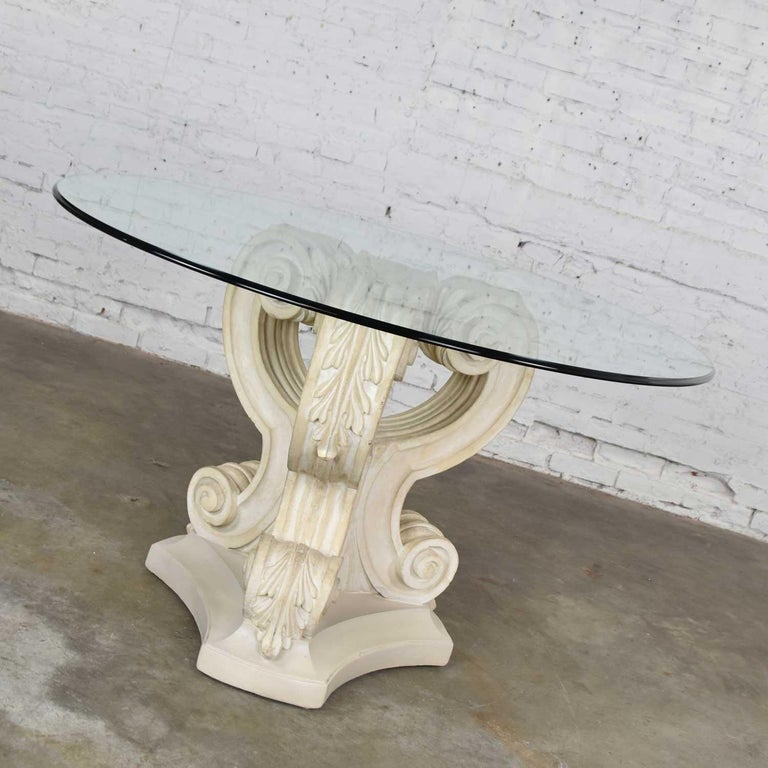 Neoclassical Architectural Plaster Pedestal Dining Or Center Table Round Glass At 1stdibs