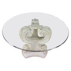 Neoclassical Architectural Plaster Pedestal Dining or Center Table Round Glass